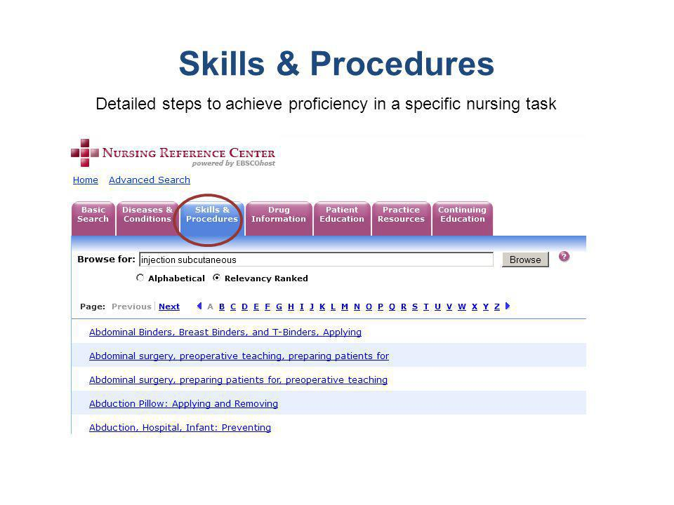 Skills & Procedures Detailed steps to achieve proficiency in a specific nursing task