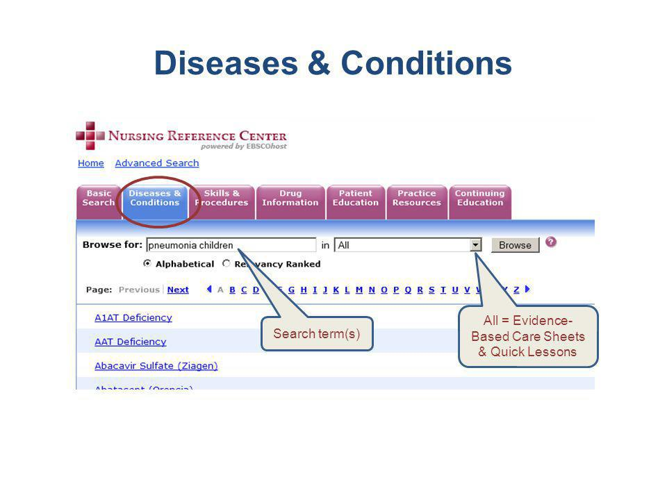 Diseases & Conditions Search term(s) All = Evidence- Based Care Sheets & Quick Lessons