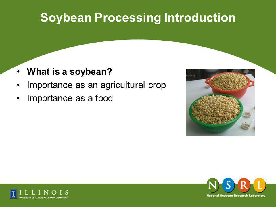Chemical Composition of Soybean and its Components on Dry Basis Soybeans Processing for Food Uses International Soybean Program, University of Illinois ComponentsYield (%)Protein (%)Fat (%)Ash (%)Carbs* (%) Whole Soybeans100.0 40.3 21.04.933.9 Cotyledon90.342.822.85.029.4 Hull7.38.81.04.385.9 Hypocotyl2.440.811.44.443.4 * Calculated by difference 100 – (protein + fat + ash); consists of crude fiber and N free extract.