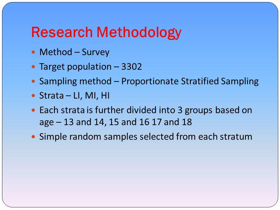 Research Methodology Method – Survey Target population – 3302 Sampling method – Proportionate Stratified Sampling Strata – LI, MI, HI Each strata is f