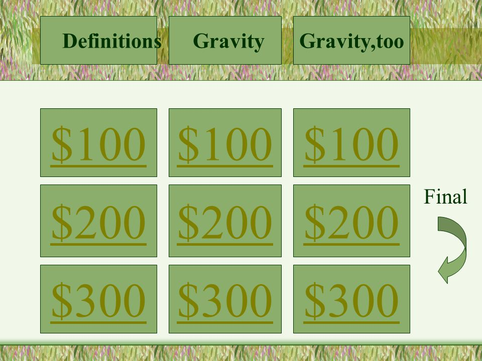 $100 $200 $300 $100 $200 $300 $100 $200 $300 Definitions GravityGravity,too Final