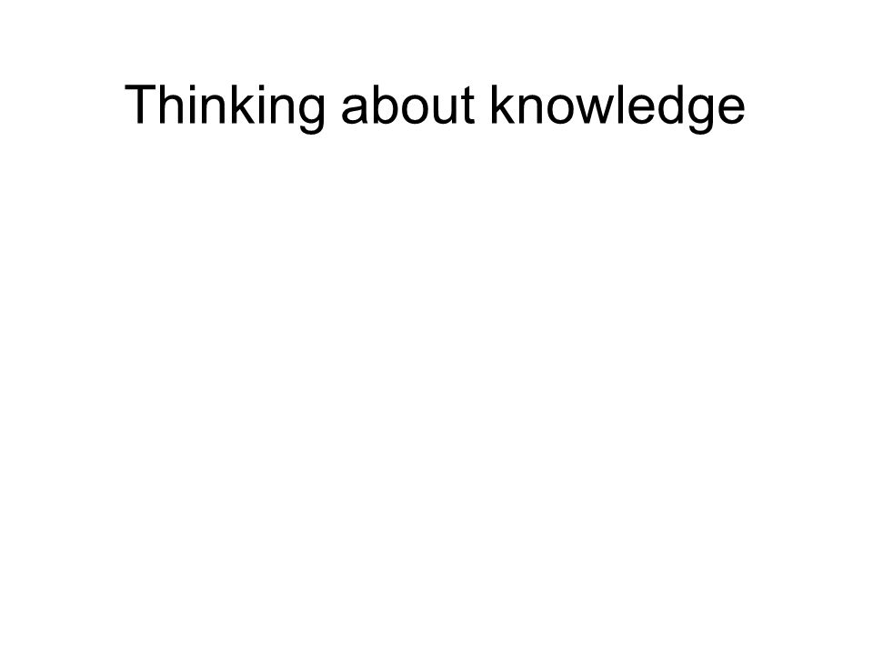 Thinking about knowledge