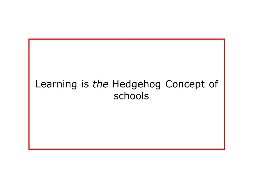 Learning is the Hedgehog Concept of schools