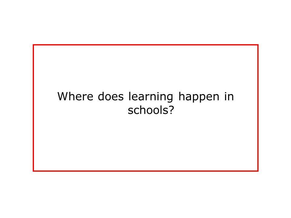 Where does learning happen in schools