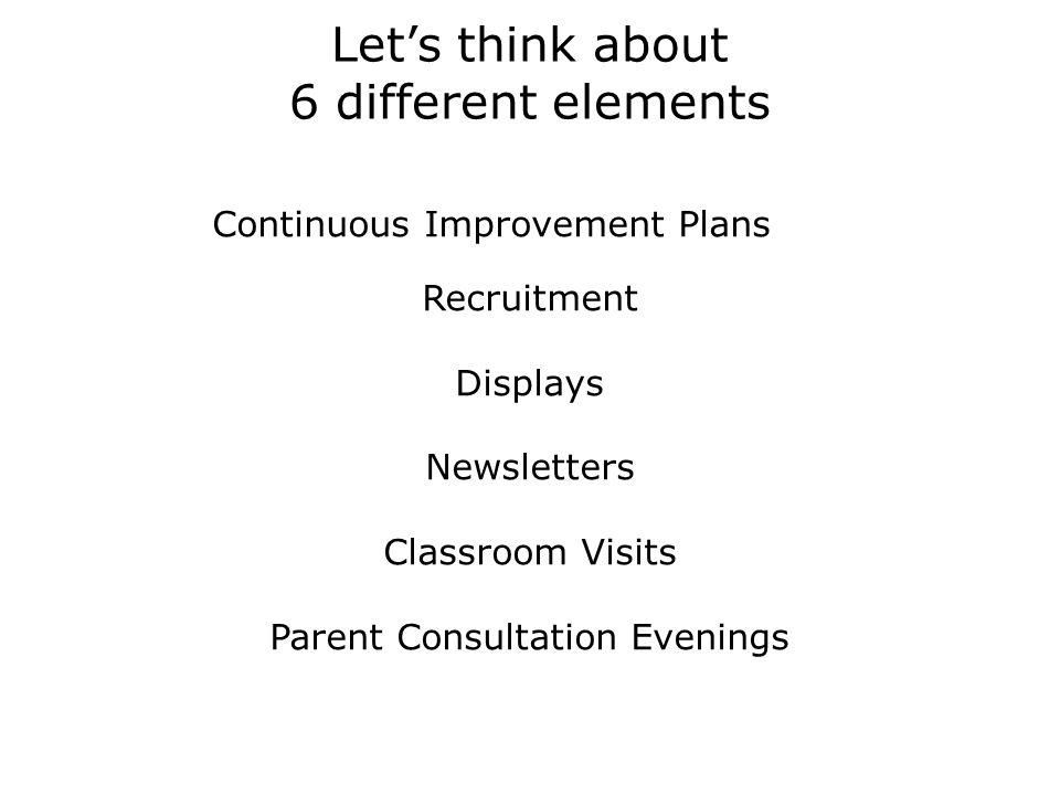 Lets think about 6 different elements Continuous Improvement Plans Recruitment Displays Newsletters Classroom Visits Parent Consultation Evenings