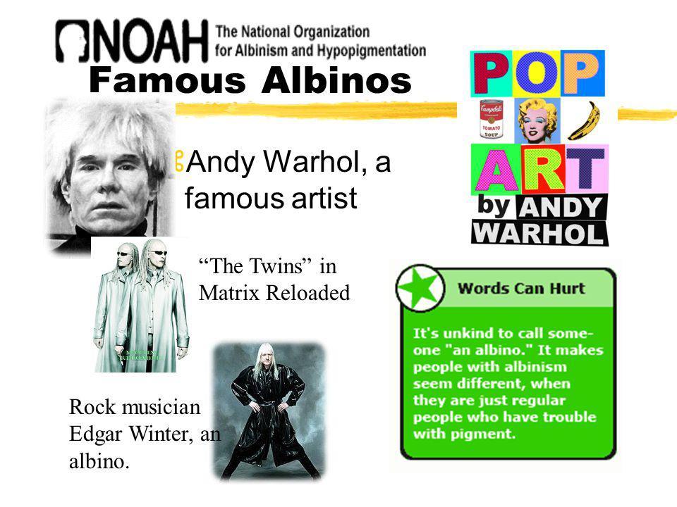 Famous Albinos zAndy Warhol, a famous artist Rock musician Edgar Winter, an albino. The Twins in Matrix Reloaded
