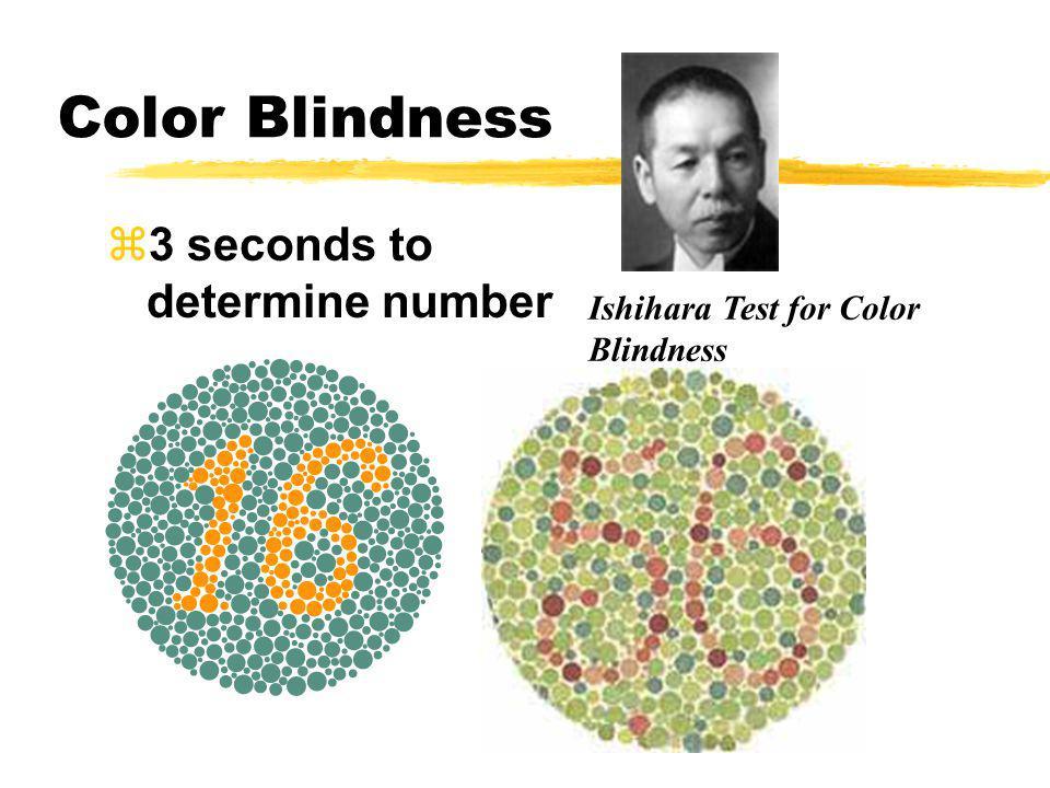 Color Blindness z3 seconds to determine number Ishihara Test for Color Blindness