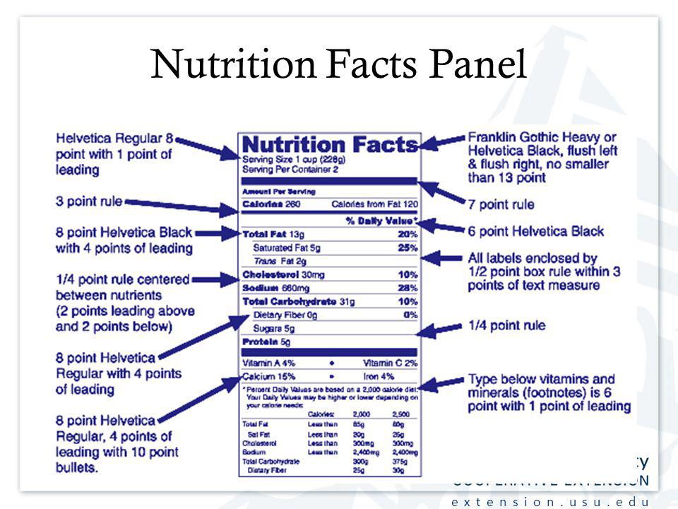 extension.usu.edu Nutrition Facts Panel