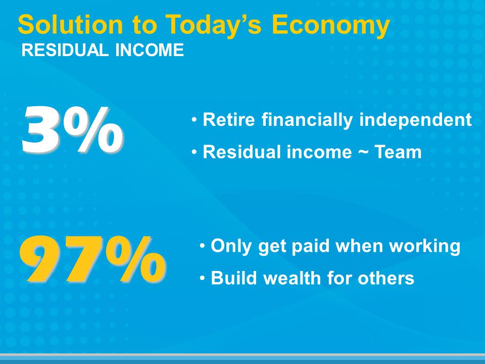 3% Solution to Todays Economy 97% Residual income ~ Team Retire financially independent Build wealth for others Only get paid when working RESIDUAL INCOME