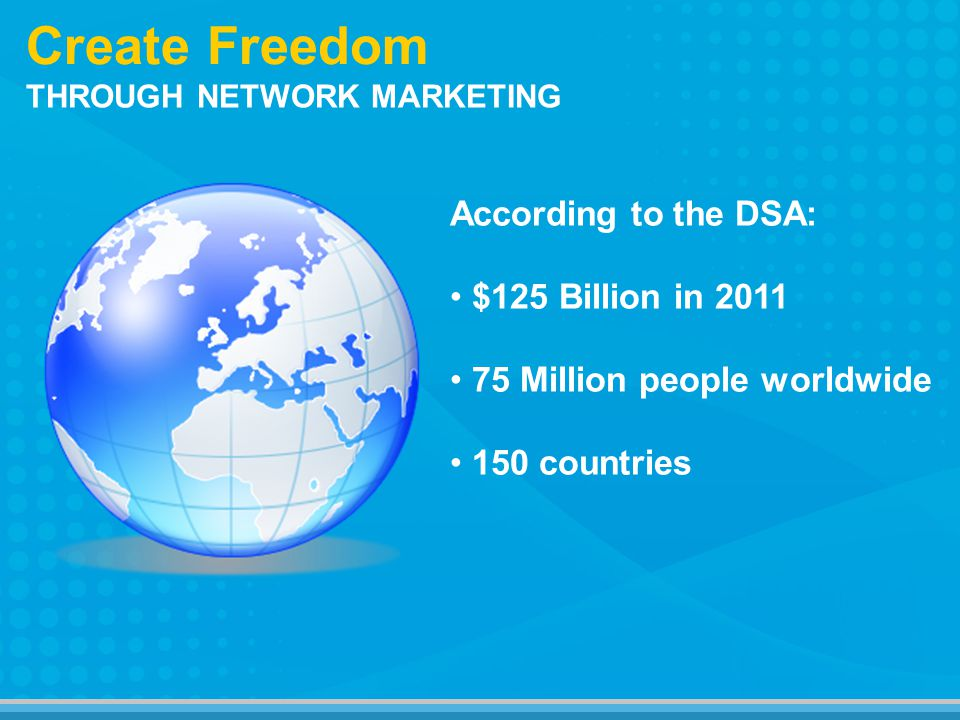 Create Freedom According to the DSA: $125 Billion in 2011 75 Million people worldwide 150 countries THROUGH NETWORK MARKETING