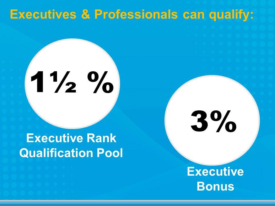 1½ % 3% Executives & Professionals can qualify: Executive Bonus Executive Rank Qualification Pool