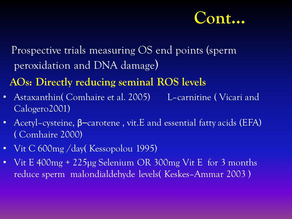 Cont… Prospective trials measuring OS end points (sperm peroxidation and DNA damage ) AOs: Directly reducing seminal ROS levels Astaxanthin( Comhaire et al.