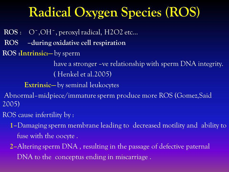 Radical Oxygen Species (ROS) ROS : Oˉ,OHˉ, peroxyl radical, H2O2 etc… ROS –during oxidative cell respiration ROS :Intrinsic: by sperm have a stronger –ve relationship with sperm DNA integrity.