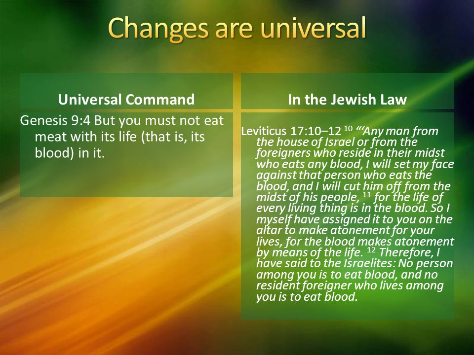 Universal Command Genesis 9:4 But you must not eat meat with its life (that is, its blood) in it.