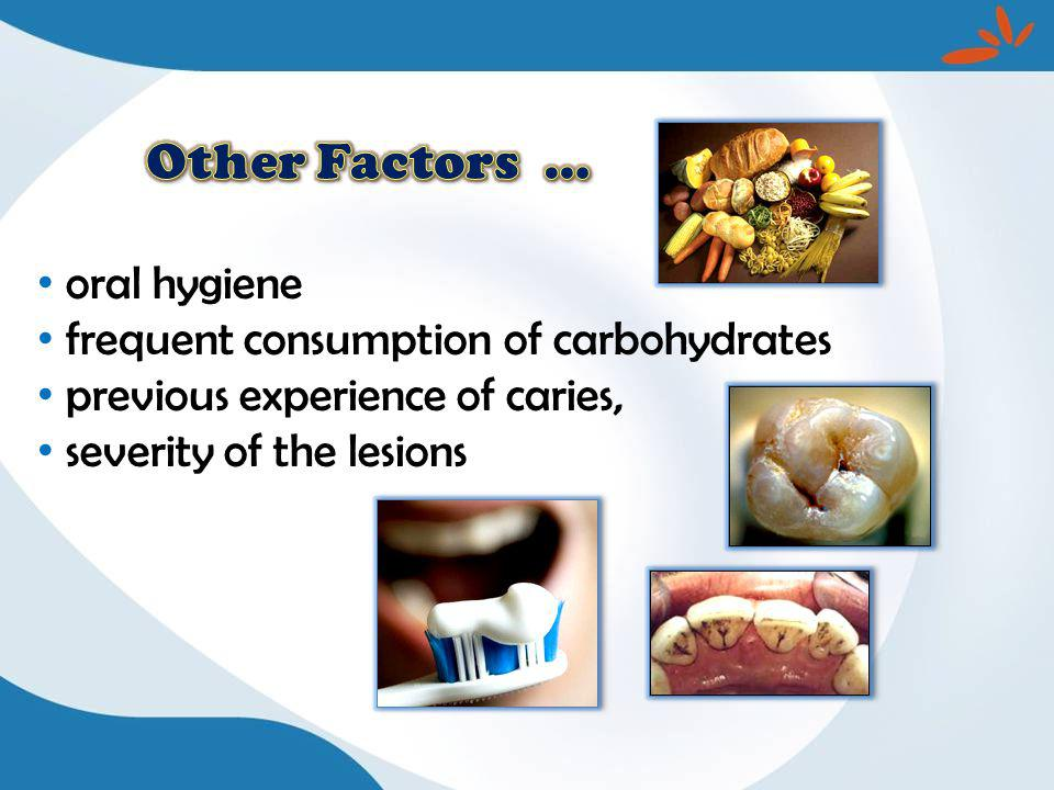 oral hygiene frequent consumption of carbohydrates previous experience of caries, severity of the lesions