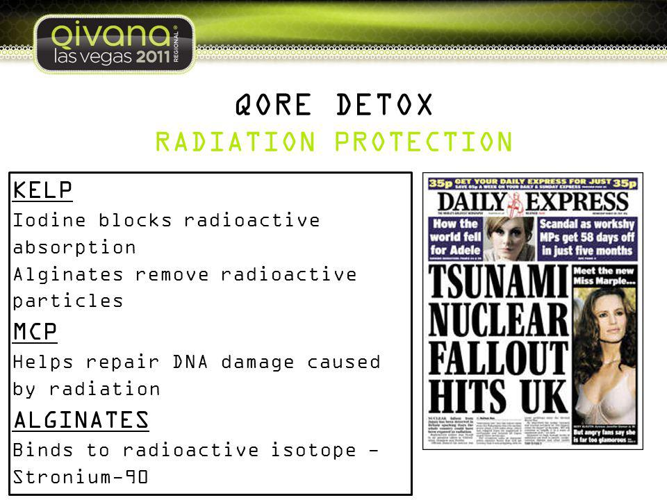 QORE DETOX RADIATION PROTECTION KELP Iodine blocks radioactive absorption Alginates remove radioactive particles MCP Helps repair DNA damage caused by radiation ALGINATES Binds to radioactive isotope - Stronium-90