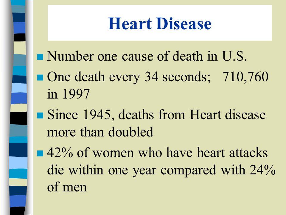 Heart Disease n Number one cause of death in U.S.