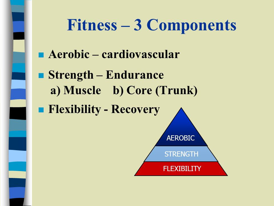 Fitness – 3 Components n Aerobic – cardiovascular n Strength – Endurance a) Muscle b) Core (Trunk) n Flexibility - Recovery STRENGTH AEROBIC FLEXIBILITY