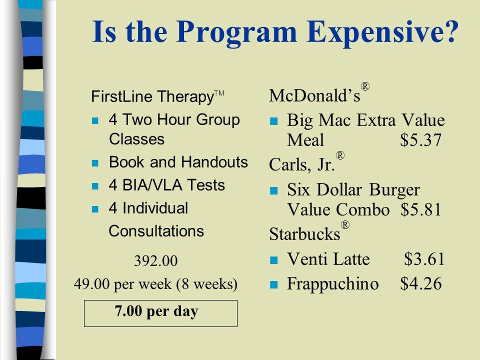 392.00 49.00 per week (8 weeks) 7.00 per day Is the Program Expensive.