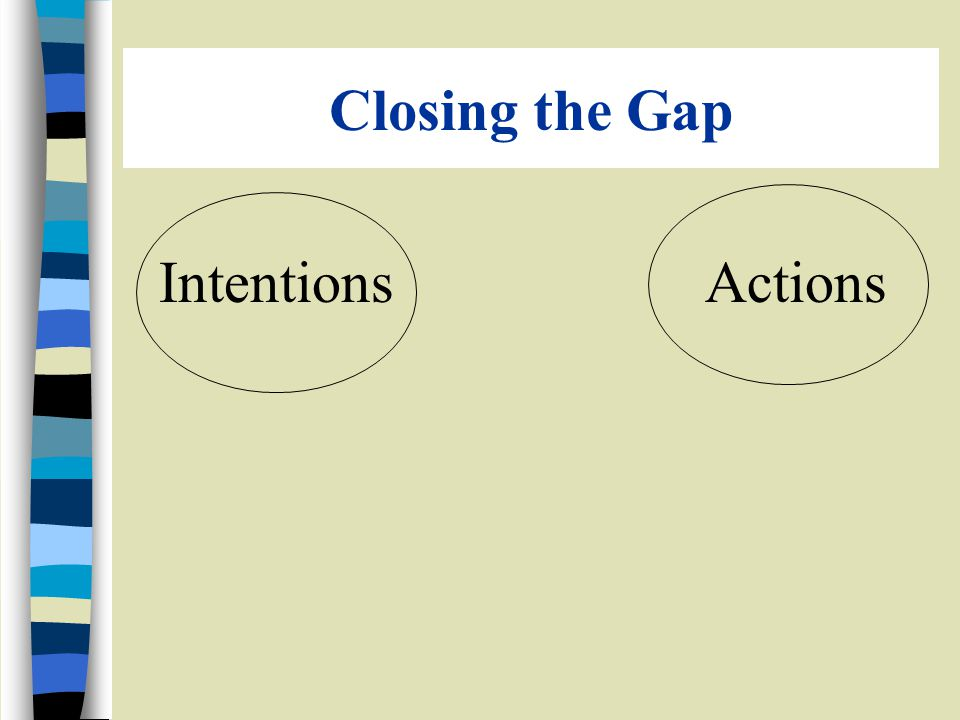 Closing the Gap Intentions Actions