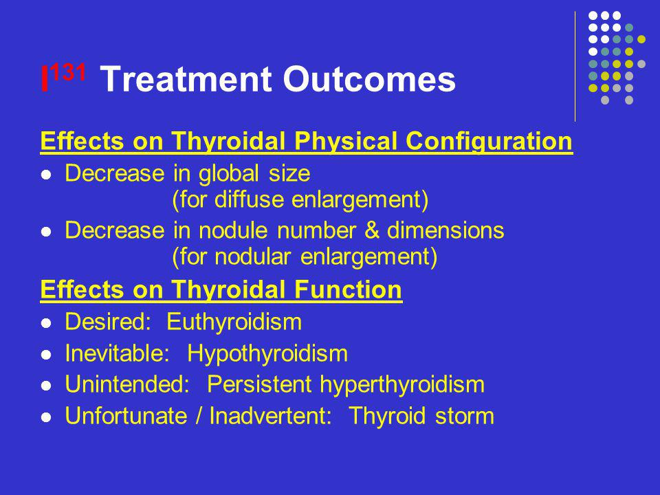I 131 Treatment Outcomes Effects on Thyroidal Physical Configuration Decrease in global size (for diffuse enlargement) Decrease in nodule number & dim