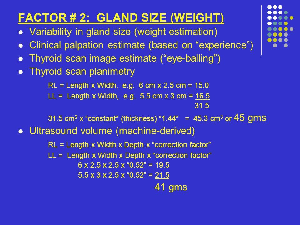 FACTOR # 2: GLAND SIZE (WEIGHT) Variability in gland size (weight estimation) Clinical palpation estimate (based on experience) Thyroid scan image est