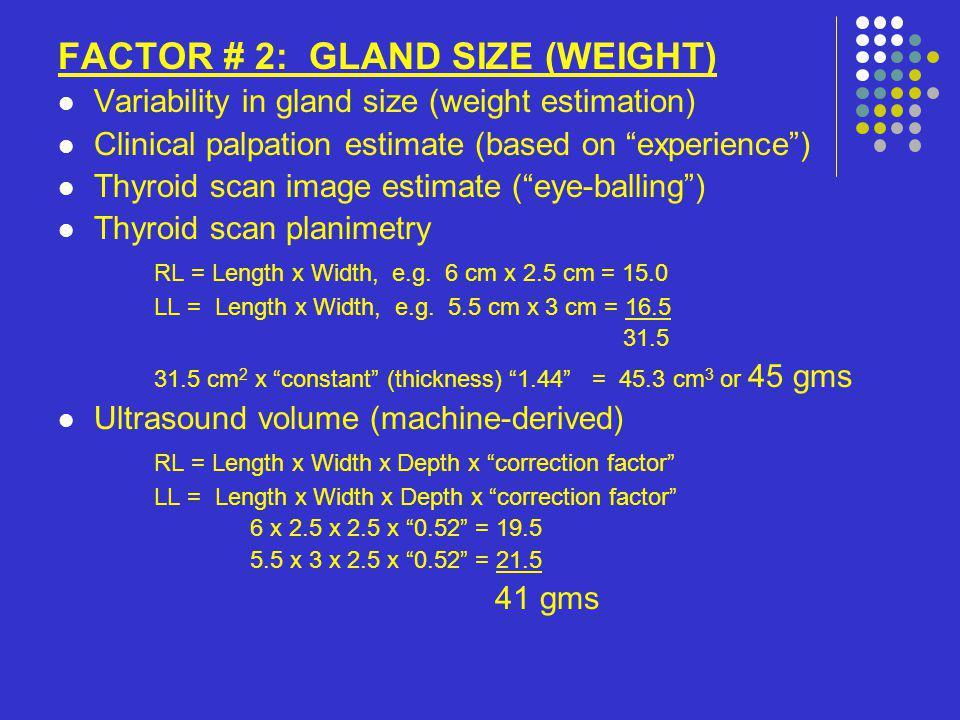 FACTOR # 3: UPTAKE INTO THE ORGAN Hyperthyroid uptake ranges from 30 – 90% Distribution: uniform vs.
