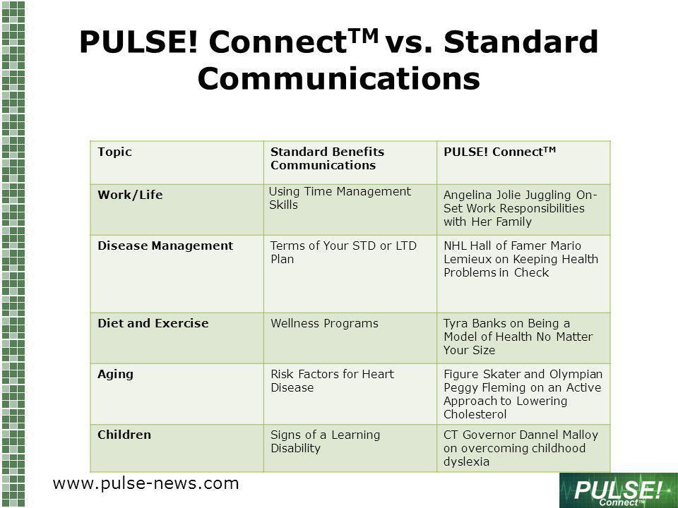 PULSE. Connect TM vs. Standard Communications TopicStandard Benefits Communications PULSE.