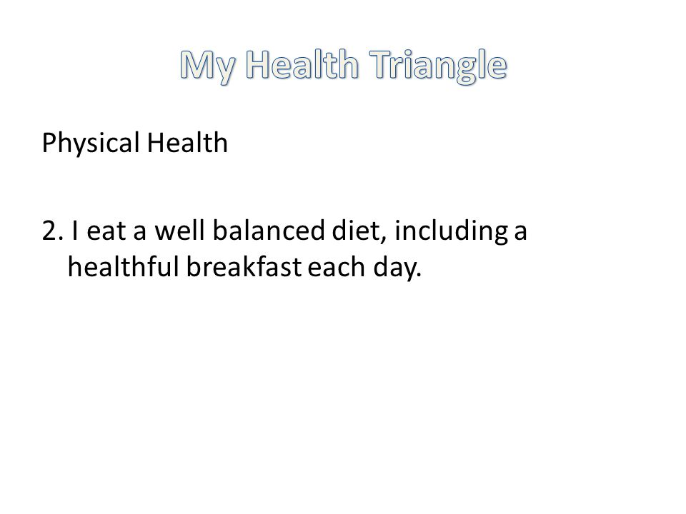 Physical Health 2. I eat a well balanced diet, including a healthful breakfast each day.