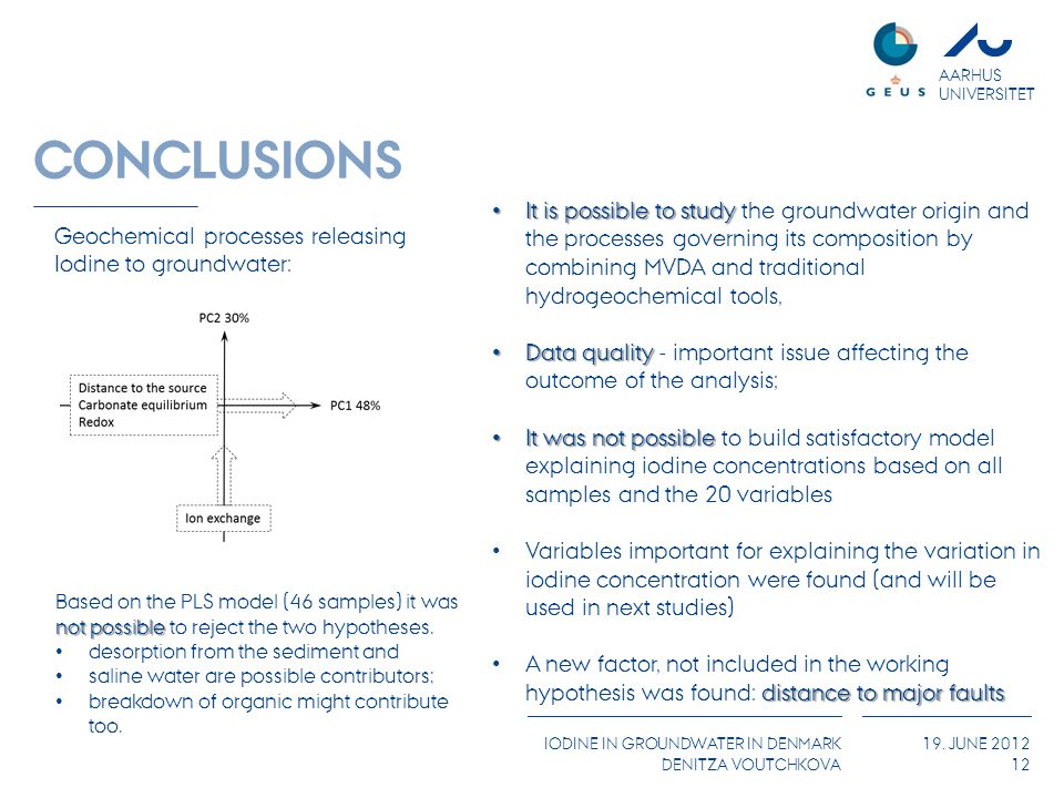 AARHUS UNIVERSITET IODINE IN GROUNDWATER IN DENMARK DENITZA VOUTCHKOVA 19. JUNE 2012 CONCLUSIONS 12 It is possible to study It is possible to study th