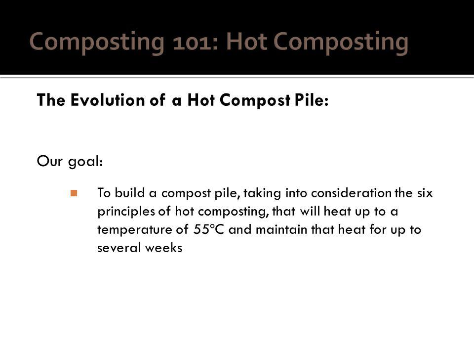 The Evolution of a Hot Compost Pile: Our goal: To build a compost pile, taking into consideration the six principles of hot composting, that will heat up to a temperature of 55ºC and maintain that heat for up to several weeks