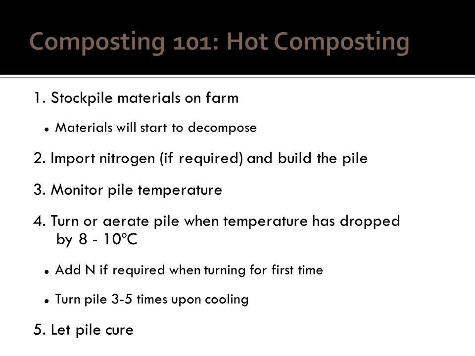 1. Stockpile materials on farm Materials will start to decompose 2.