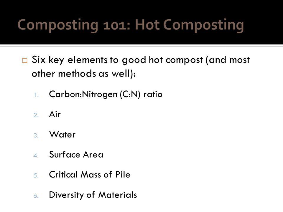 Six key elements to good hot compost (and most other methods as well): 1.