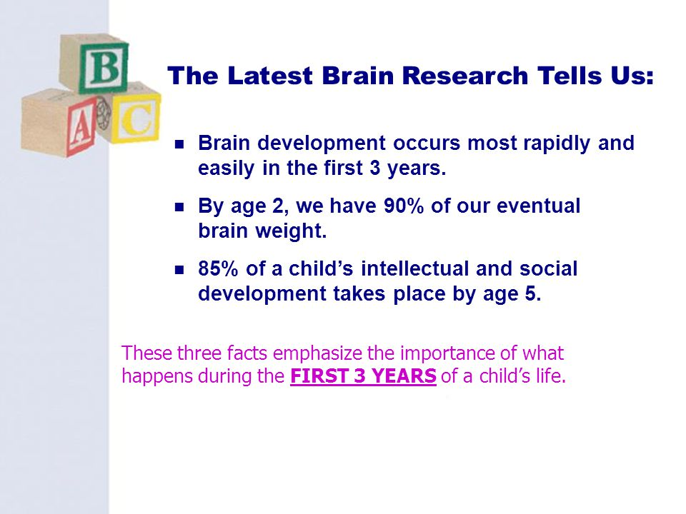 2 Brain development occurs most rapidly and easily in the first 3 years. By age 2, we have 90% of our eventual brain weight. 85% of a childs intellect