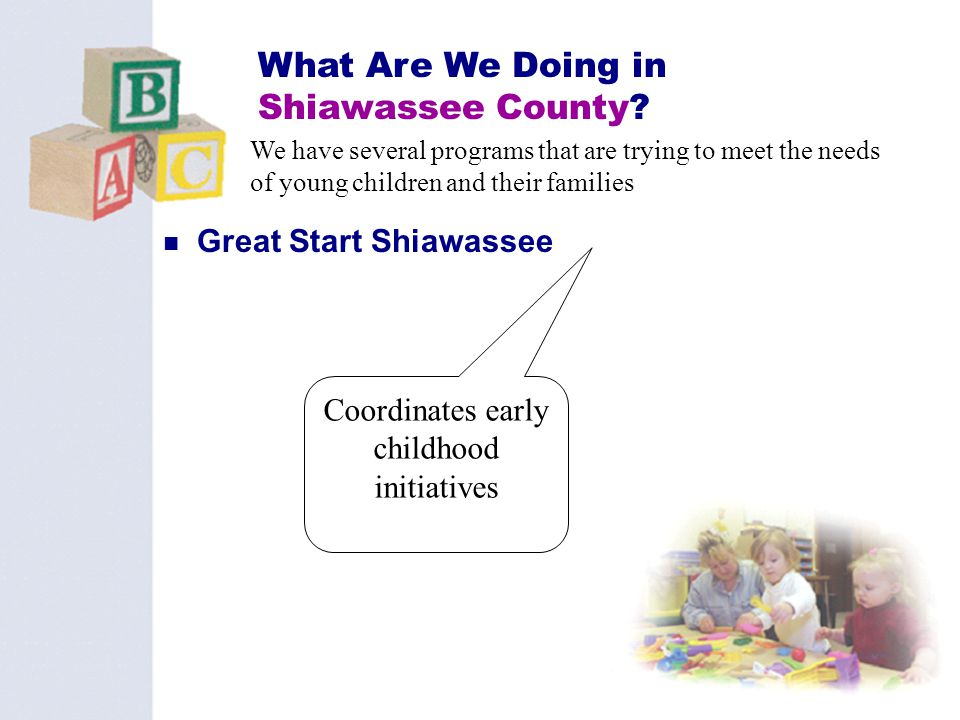 27 What Are We Doing in Shiawassee County? Great Start Shiawassee We have several programs that are trying to meet the needs of young children and the