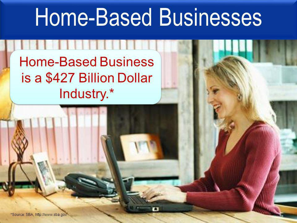 Home-Based Businesses Home-Based Business is a $427 Billion Dollar Industry.* *Source: SBA, http://www.sba.gov