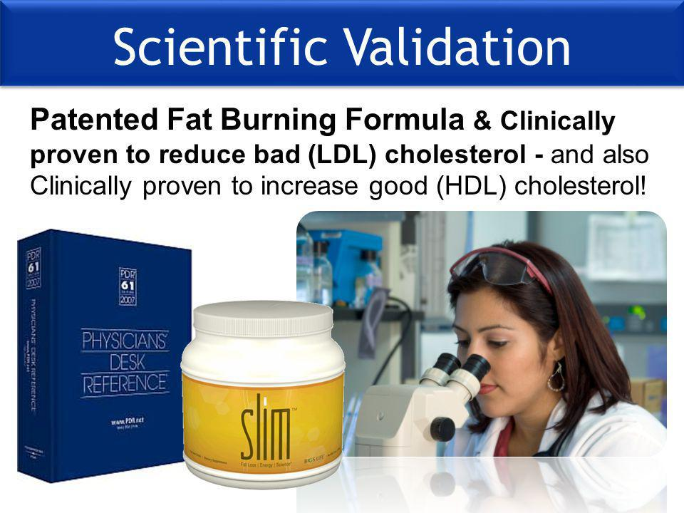 Scientific Validation Patented Fat Burning Formula & Clinically proven to reduce bad (LDL) cholesterol - and also Clinically proven to increase good (HDL) cholesterol!