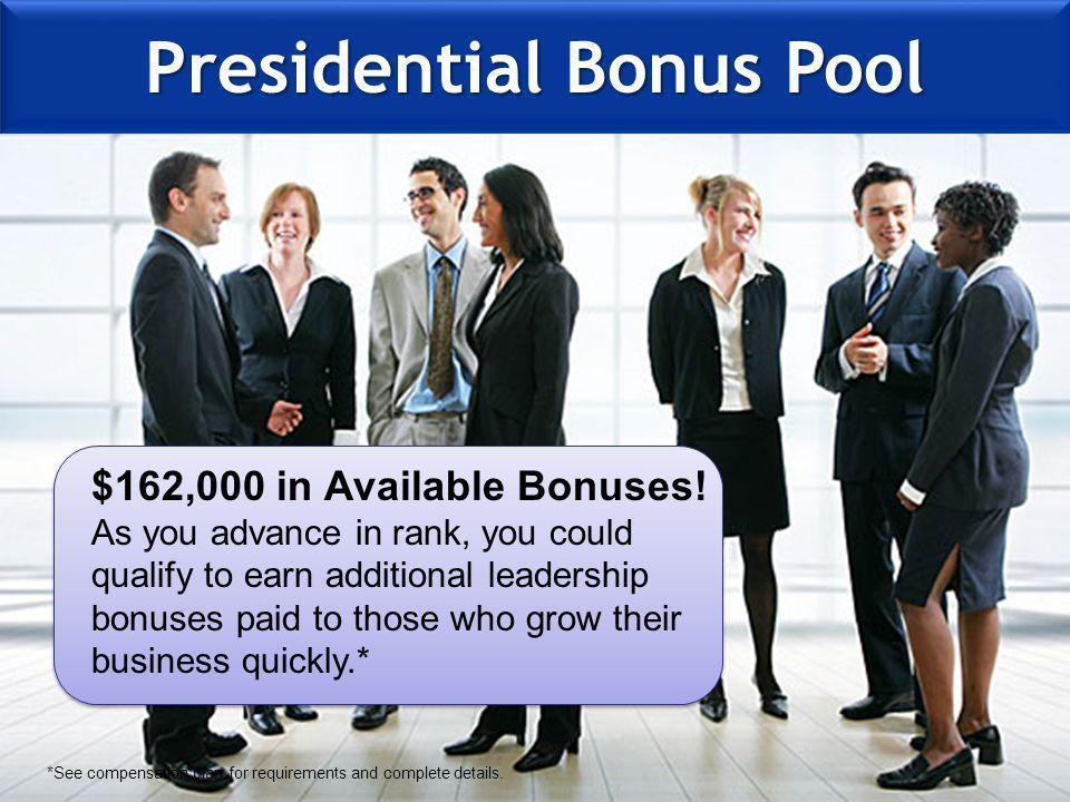 Presidential Bonus Pool $162,000 in Available Bonuses.