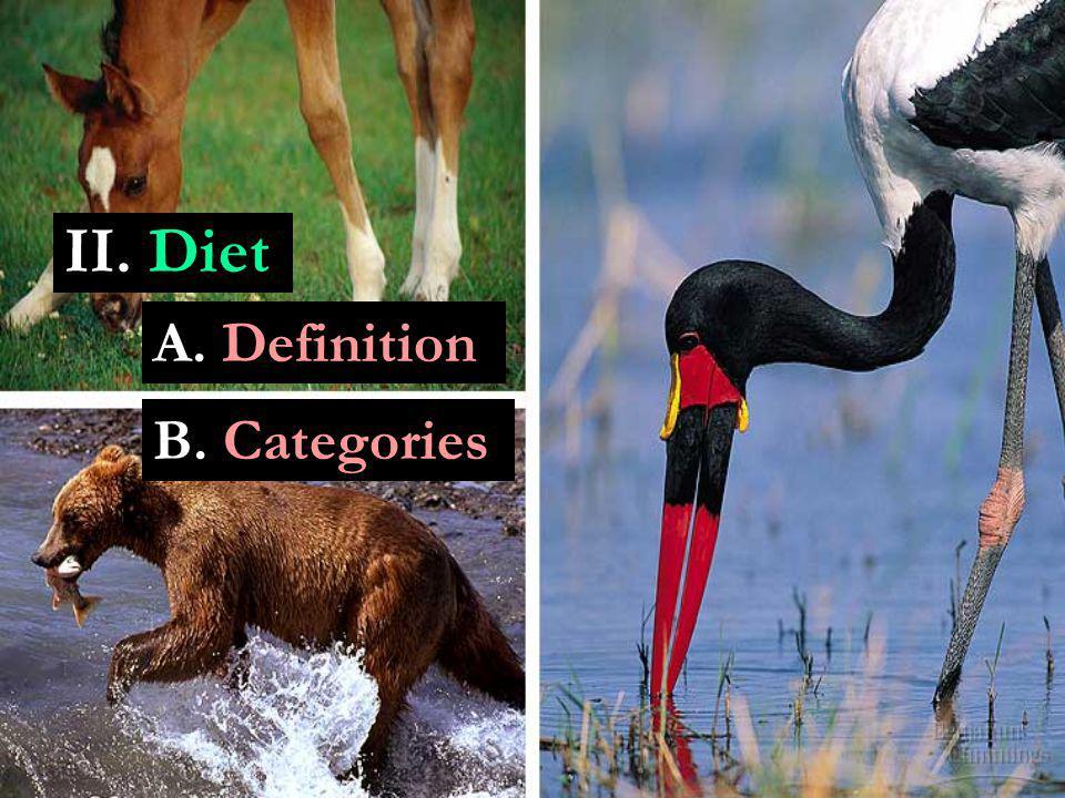II. Diet A. Definition B. Categories