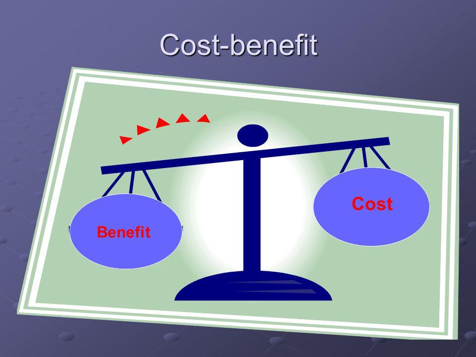 Cost-benefit Benefit Cost Benefit Cost