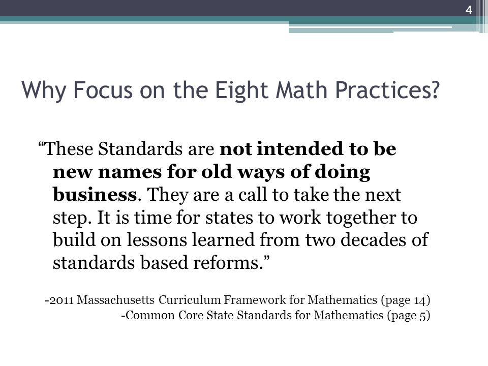 Why Focus on the Eight Math Practices.