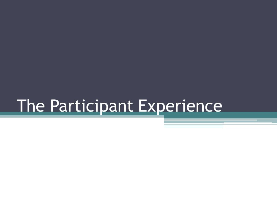 The Participant Experience
