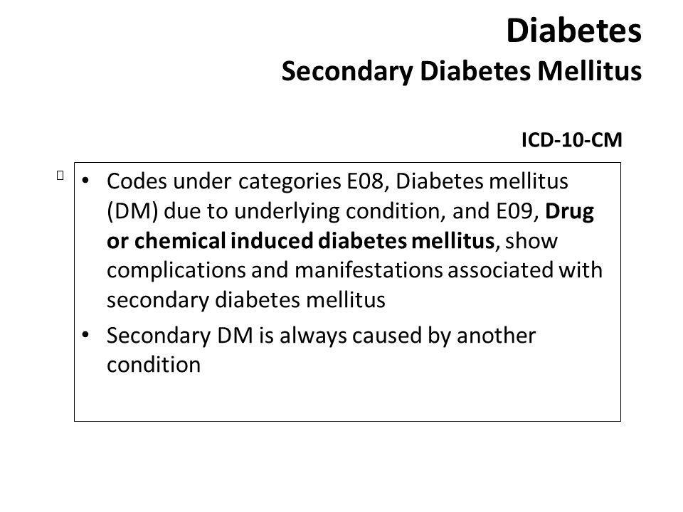 Diabetes Secondary Diabetes Mellitus ICD-10-CM Codes under categories E08, Diabetes mellitus (DM) due to underlying condition, and E09, Drug or chemic