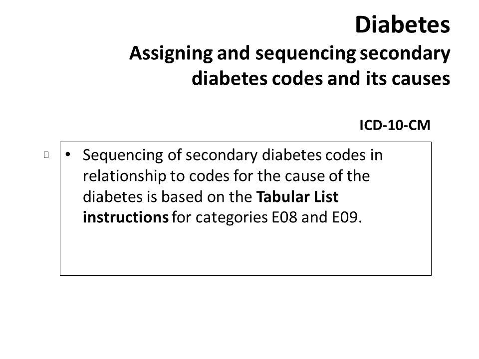 Diabetes Assigning and sequencing secondary diabetes codes and its causes ICD-10-CM Sequencing of secondary diabetes codes in relationship to codes fo