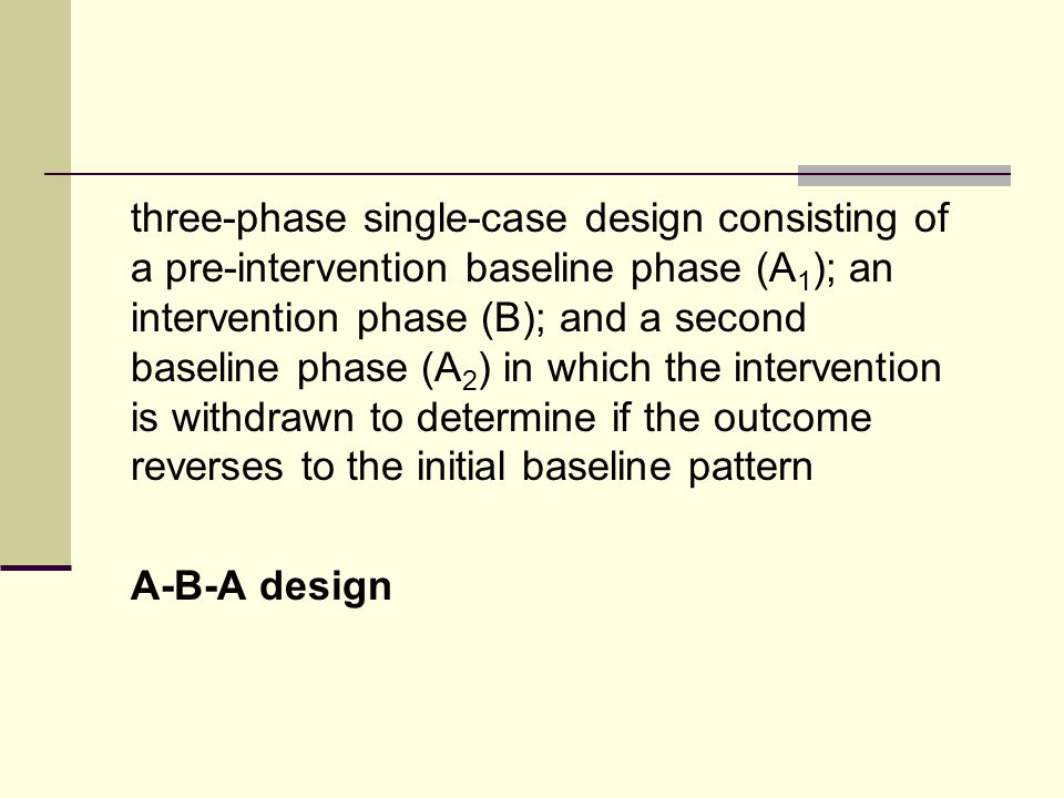 three-phase single-case design consisting of a pre-intervention baseline phase (A 1 ); an intervention phase (B); and a second baseline phase (A 2 ) in which the intervention is withdrawn to determine if the outcome reverses to the initial baseline pattern A-B-A design