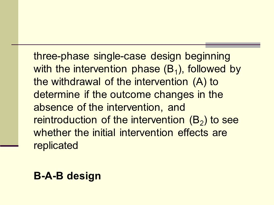 three-phase single-case design beginning with the intervention phase (B 1 ), followed by the withdrawal of the intervention (A) to determine if the outcome changes in the absence of the intervention, and reintroduction of the intervention (B 2 ) to see whether the initial intervention effects are replicated B-A-B design