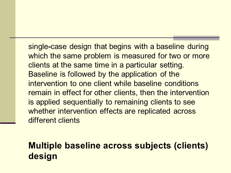 single-case design that begins with a baseline during which the same problem is measured for two or more clients at the same time in a particular setting.