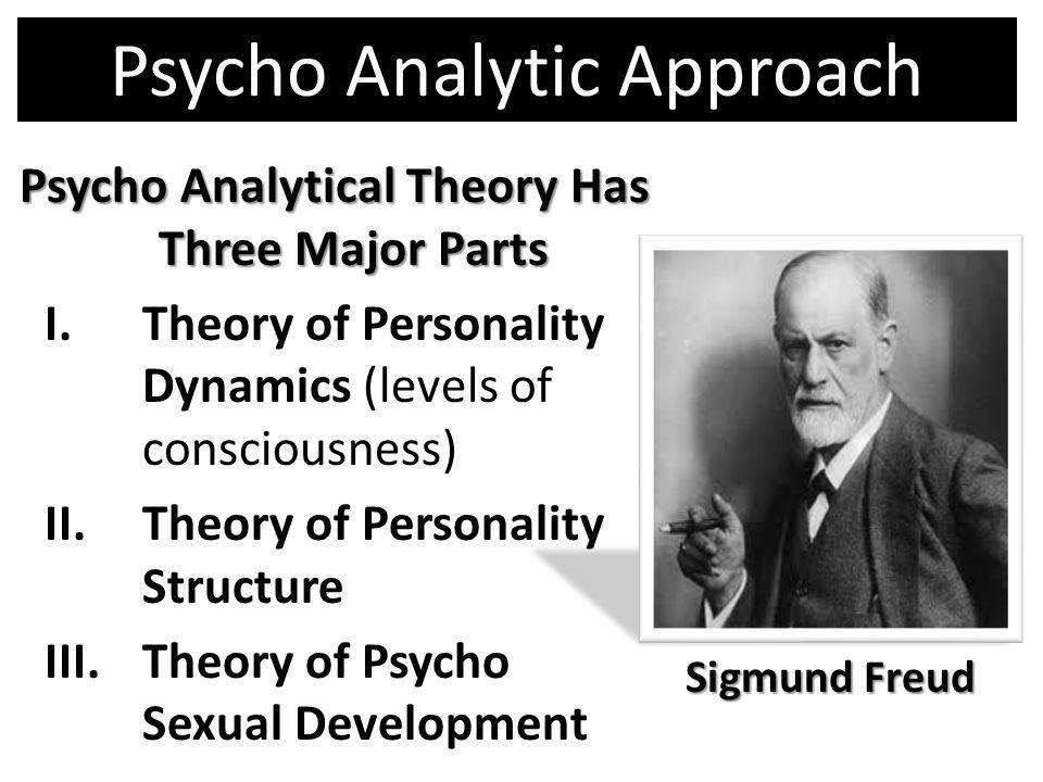 Psycho Analytic Approach Psycho Analytical Theory Has Three Major Parts I.Theory of Personality Dynamics (levels of consciousness) II.Theory of Person
