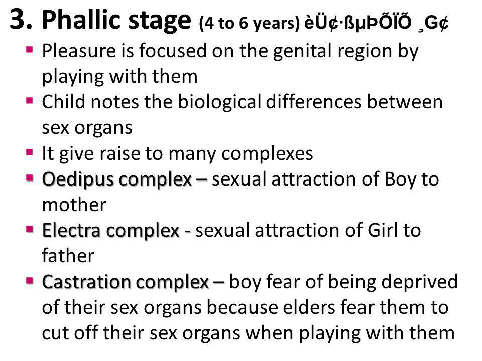3. Phallic stage (4 to 6 years) èÜ¢·ßµÞÕÏÕ ¸G¢ Pleasure is focused on the genital region by playing with them Child notes the biological differences b