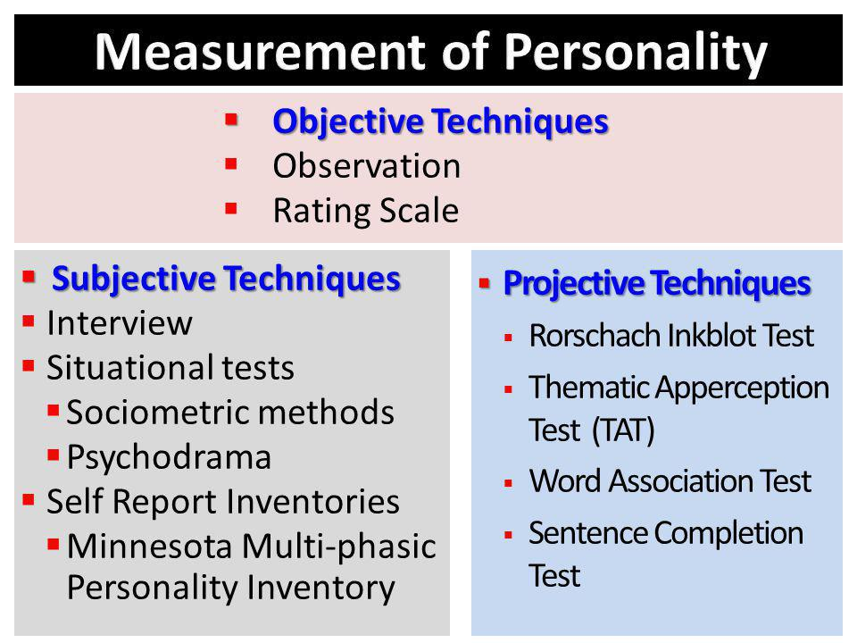 Subjective Techniques Subjective Techniques Interview Situational tests Sociometric methods Psychodrama Self Report Inventories Minnesota Multi-phasic